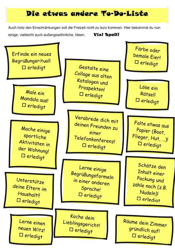 Die etwas andere To-Do Liste